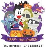 halloween illustration of ghost ... | Shutterstock .eps vector #1491308615