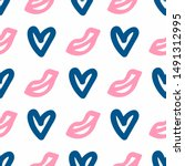 seamless pattern with hearts... | Shutterstock .eps vector #1491312995