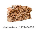 Stacked Firewood Isolated On...