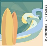 surf boards with waves and sun...   Shutterstock .eps vector #149143898