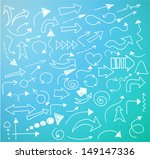 set of white sketch arrows on... | Shutterstock .eps vector #149147336