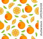 orange pattern  fruit pattern ... | Shutterstock .eps vector #1491541418