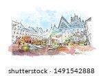 building view with landmark of... | Shutterstock .eps vector #1491542888