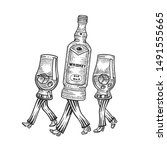 Whiskey Alcohol Bottle With Ic...