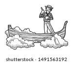 fabulous flying gondola boat... | Shutterstock . vector #1491563192