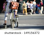 Man on bike waiting - stock photo