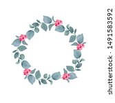 watercolor hand painted wreath... | Shutterstock . vector #1491583592