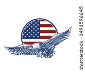 emblems with eagles and usa... | Shutterstock .eps vector #1491596645
