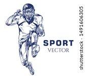 American Football Vector. Hand...