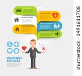 insurance service with bubble... | Shutterstock .eps vector #1491611708