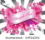Pink Banner And Filigree Over ...