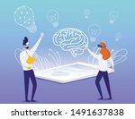 cartoon businessman and... | Shutterstock .eps vector #1491637838