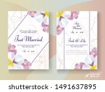 wedding card set. blossom pink... | Shutterstock .eps vector #1491637895