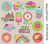 set of fashion patches  cute... | Shutterstock .eps vector #1491657998