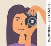 a girl photographs a selfie in... | Shutterstock .eps vector #1491732848