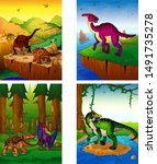 set of pictures with dinosaurs. ... | Shutterstock .eps vector #1491735278