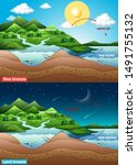 diagram showing sea and land... | Shutterstock .eps vector #1491755132