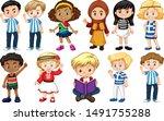 set of children from different... | Shutterstock .eps vector #1491755288