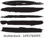 vector brush set. black lines... | Shutterstock .eps vector #1491760595