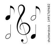 music notes  song  melody or... | Shutterstock .eps vector #1491769682