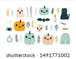 cute naive halloween. plants ... | Shutterstock .eps vector #1491771002