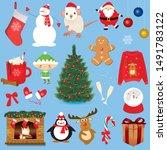 christmas sticker icon set.... | Shutterstock .eps vector #1491783122