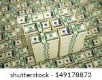 Piles of 100 Dollar bills - 3D Rendering - stock photo