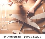Small photo of top view of wooden aircraft kit or airplane model made from from balsa