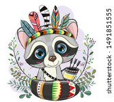 cute cartoon raccoon with... | Shutterstock .eps vector #1491851555