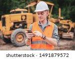 portrait of caucasian engineers ... | Shutterstock . vector #1491879572