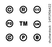 intellectual property icons ... | Shutterstock . vector #1491906422