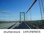 Murray MacKay Bridge in Halifax, Canada, during the day, bright sunny morning of August.