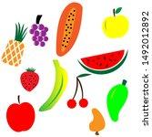 doodle fruits. natural fruits... | Shutterstock .eps vector #1492012892