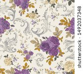 seamless vector pattern with a... | Shutterstock .eps vector #1492037348