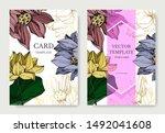 vector lotus floral botanical... | Shutterstock .eps vector #1492041608