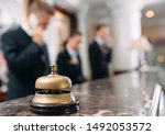 Small photo of Hotel service bell Concept hotel, travel, room,Modern luxury hotel reception counter desk on background