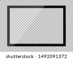 tv screen with glass reflection ... | Shutterstock .eps vector #1492091372