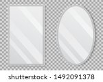 realistic empty mirrors with... | Shutterstock .eps vector #1492091378