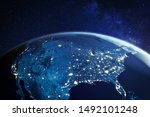Usa from space at night with...