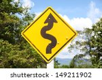 Curved Road Traffic Sign On A ...