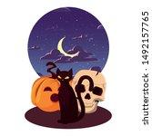pumpkin cat happy halloween...   Shutterstock .eps vector #1492157765