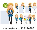 business woman in whiteboard... | Shutterstock .eps vector #1492194788