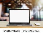 laptop computer blank white... | Shutterstock . vector #1492267268