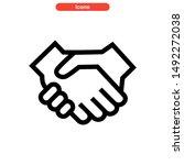 handshake icon isolated sign... | Shutterstock .eps vector #1492272038
