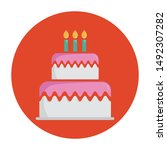 birthday cake icon concept with ...   Shutterstock .eps vector #1492307282
