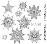 mandala set. black and white... | Shutterstock .eps vector #1492376738