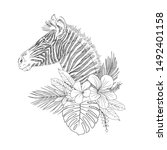 zebra with tropical flowers... | Shutterstock .eps vector #1492401158