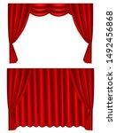 luxury scarlet red silk velvet... | Shutterstock .eps vector #1492456868
