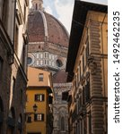 Stock photo brunelleschi s dome street view sunny day firenze 1492462235