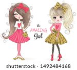 two hand drawn beautiful cute... | Shutterstock .eps vector #1492484168